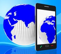 world phone indicating web site and globalise - stock illustration