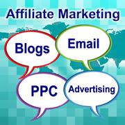 Affiliate marketing meaning join forces and unite Stock Illustration