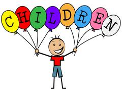 children balloons meaning decoration youths and youngster - stock illustration