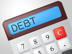 Debt calculator showing financial obligation and indebted Stock Illustration