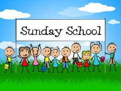 Sunday school banner showing devotee church and kids Stock Illustration