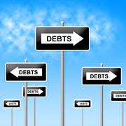 Debts sign indicating financial obligation and indebt Stock Illustration