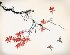 Stock Illustration of ink style maple leaves