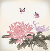 Mum and butterfly  chinese style painting Stock Illustration