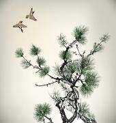 Ink style Pine Tree and birds Stock Illustration