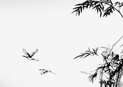 Ink style bamboo and crane - stock illustration