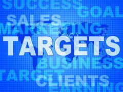 Stock Illustration of targets words represents projection business and aiming
