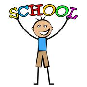 school boy indicating schooling develop and learn - stock illustration