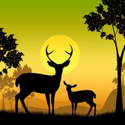 Deer wildlife meaning safari sunlight and forest Stock Illustration