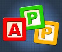 App kids blocks indicates application software and online Stock Illustration