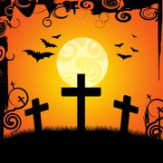 Halloween graveyard indicating place of burial and trick or treat Stock Illustration