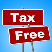 tax free signs meaning with our compliments and gratis - stock illustration