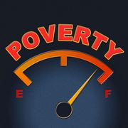 Poverty gauge indicating stop hunger and display Stock Illustration