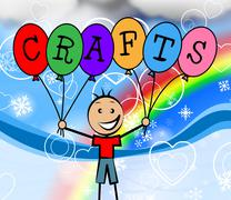 Crafts balloons indicating design youngster and artist Stock Illustration