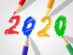 Two thosand twenty indicating new year and youngster Stock Illustration
