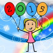 twenty fifteen balloons showing new year and childhood - stock illustration