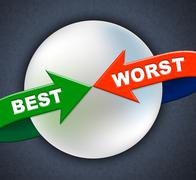 Stock Illustration of best worst arrows showing number one and dire
