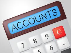 Accounts calculator indicates balancing the books and accounting Stock Illustration