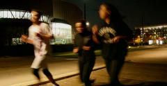 European Court of Human Rights - ECHR  - with runners  passing Stock Footage