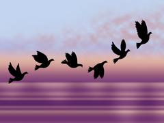 Flying birds meaning cold season and cool Stock Illustration
