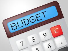 Budget calculator means accounting calculation and buy Stock Illustration