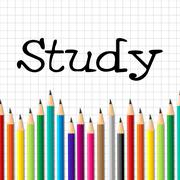 study pencils indicating kid stationery and college - stock illustration