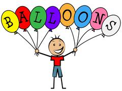 balloons boy representing youth kids and party - stock illustration
