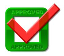Approved tick indicating checkmark pass and yes Stock Illustration