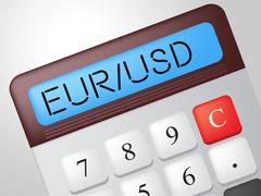 Eur usd calculator indicates exchange rate and american Stock Illustration