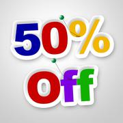 Stock Illustration of fifty percent off indicating merchandise promotional and promotion