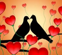 Stock Illustration of love birds showing affection loving and devotion