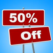 Stock Illustration of fifty percent off showing clearance reduction and cheap