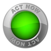 Stock Illustration of act now button representing at the moment and action