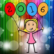 twenty sixteen balloons showing new year and youth - stock illustration