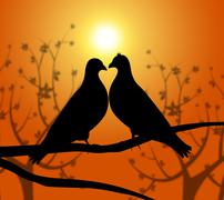 love birds indicating adoration dating and romance - stock illustration