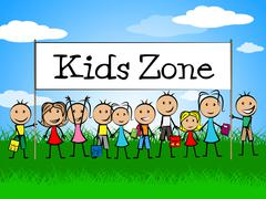 kids zone banner meaning youngster child and joyful - stock illustration
