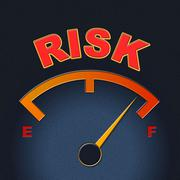 Stock Illustration of risk gauge shows display caution and failure