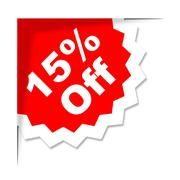fifteen percent off representing cheap reduction and promotional - stock illustration