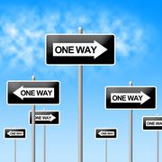 Stock Illustration of one way sign meaning indecisive uncertain and decision