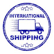 Stock Illustration of international shipping stamp meaning delivering parcel and global
