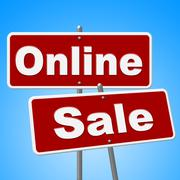Stock Illustration of online sale signs shows web site and retail