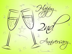 Happy second anniversary representing congratulating joy and romance Stock Illustration