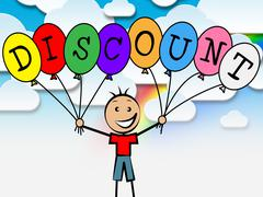 Discount balloons indicating sale savings and youngsters Stock Illustration