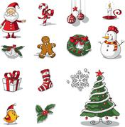 Christmas Graphic Elements Hand Drawn Vector - stock illustration