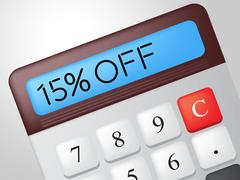 fifteen percent off indicating discounts save and calculate - stock illustration