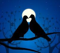 love birds representing wildlife passion and devotion - stock illustration