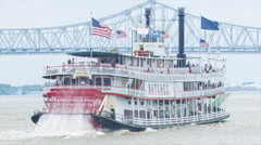 Steamboat Natchez on the Mississippi River in New Orleans Stock Footage