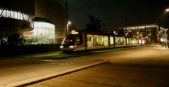 European Court of Human Rights - ECHR  - with tramway passing Stock Footage