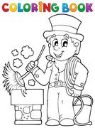Coloring book chimney sweeper Stock Illustration