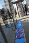 An independent report by boris nemtsov putin results laid out at the bus stop Kuvituskuvat
